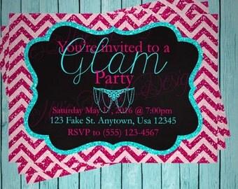 SALE 50% OFF Custom Glam Party Invitation - Birthday - Baby Shower - Bridal Shower - Retirement - Party