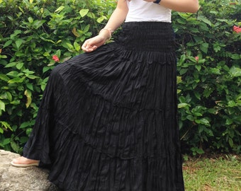 Long Skirt / Dress - Sun Skirt, Goth Skirt, Prairie Skirt - Tiered, Smocked - Black