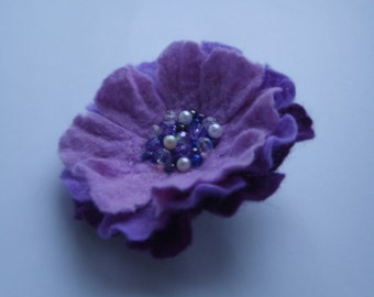 Felted brooch-Felt brooch flower -Flower brooch-Felted flower brooch-felt flower-summer autumn-winter purple summer