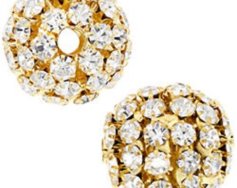 19mm Beadelle Gold Crystal Rhinestone Balls (1 piece)