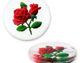 25mm German Glass Pendant with Rose Detail (12pcs)