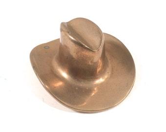 Vintage Brass Cowboy Hat Mid Century Desktop,  Western Paperweight