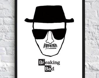 Breaking Bad Inspired Poster - Heisenberg - A4 - Walter White - TV Poster
