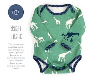 007 Dylan Onesie PDF Sewing Pattern Baby Bodysuit Kids Boy or Girl Knit Short or Long Sleeves Preemie- 6T Sadi & Sam