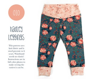 010 Hadley Leggings PDF Sewing Pattern Baby or Kid Toddler Knit Pants Boy Girl Rib Cuff Preemie to 6T Sadi & Sam