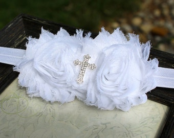 Baptism baby headband, white baby headband, christening headband, white hair band, white baby hair bow, white cross headband, white flower