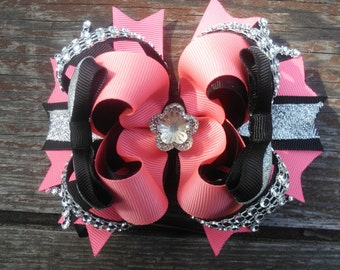 Coral and Black Boutique Hairbow, Girls Hair Bow, Coral Hair Bow, Stacked Hairbow, OTT Hairbow, Bling Hair Bow, Boutique Hair Bow