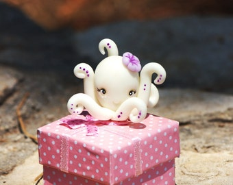 Cute polymer clay Octopus - party favor - made to order - baby girl or boy