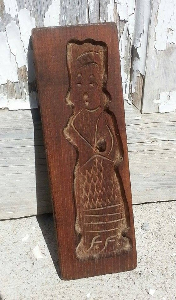 Antique Wood Speculaas Springerle Press Mold Cookie Folk