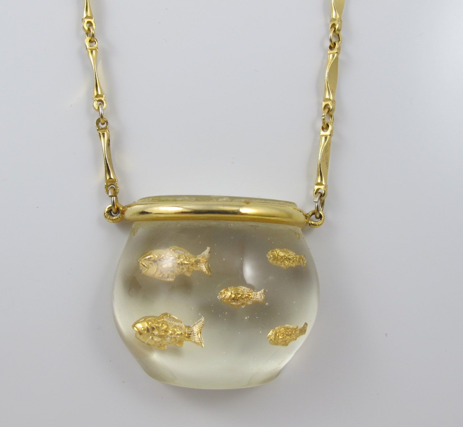 Lucite Fish Bowl Necklace Castlecliff Jelly Belly Fish Bowl