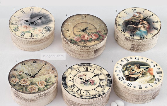 Wedding Gift Clock: Vintage Clock Shabby Distressed Box Favors Wedding Bombonieres