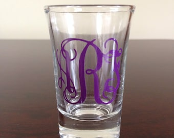 Personalized Shot Glasses with 3-Initial Monogram in Vinyl - Choose Your Color!