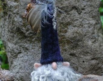 "Needle Felted Gnome-Forest Gnome, Camp Blanket Gnome, Gnome Soft Sculpture, Woodland Gnome - ""Fernwood Forager"""