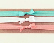 Coral Reef Knot Bow Headband Set | Elastic Knot Bow Headbands for Baby Toddler Girls, Newborn Headbands, Mint Green Coral White Turquoise
