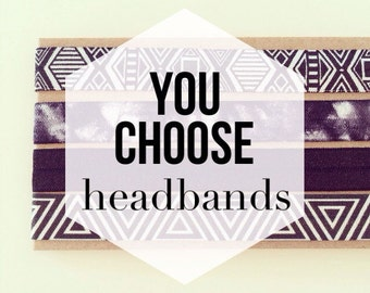 YOU CHOOSE Printed Elastic Headbands for Baby Toddlers Girls Adults | Boho Headbands, Workout Headbands, Adult Headbands, Kids Headbands