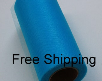 Shimmer tulle roll - 6 inches - 25 yards - Shimmer Tulle Spool Turquoise - Turquoise Shimmer tulle spool - roll of shimmer tulle Turquoise