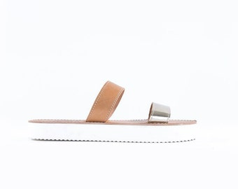 Genuine Greek leather sandal handmade with a stylish white sole -Phoebe