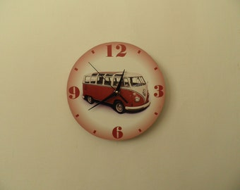 Classic vw bus clock  colourful wall clock modern wall clock, unique wall clock, Housewares, Retro wall clock