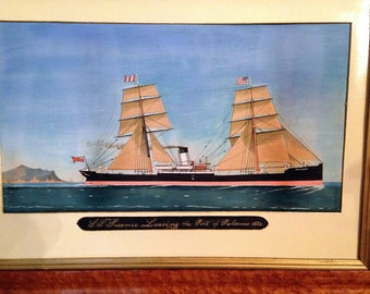 1884  Watercolor of the Ship S.S.Peconic In Original Birdseye Maple Frame