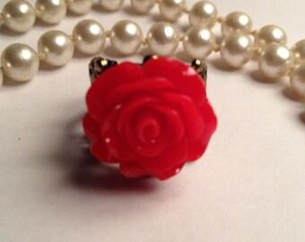 Beautiful Red Rose Filigree Ring