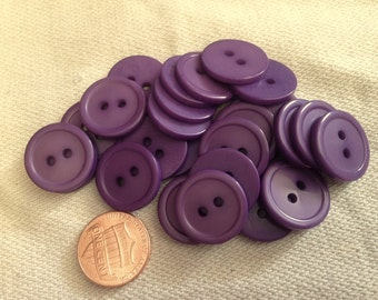 "Lot of 12 Purple Plastic Buttons 3/4"" 19mm # 7102"