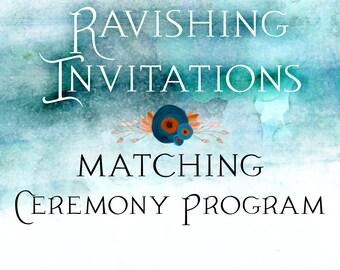 Matching Ceremony Program printable