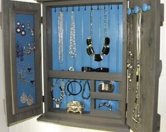 Jewelry Organizer Cabinet Armoire Wall Mounted Modern Rustic Solid Cedar Wood Gray