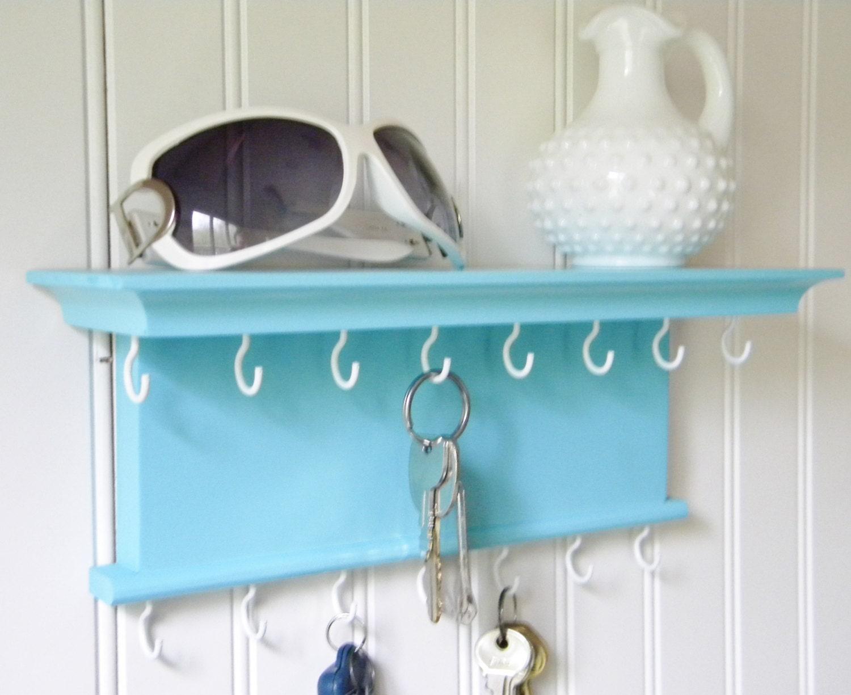 Key Holder Wall Shelf Wood Handmade Wall Mounted Satin Aqua