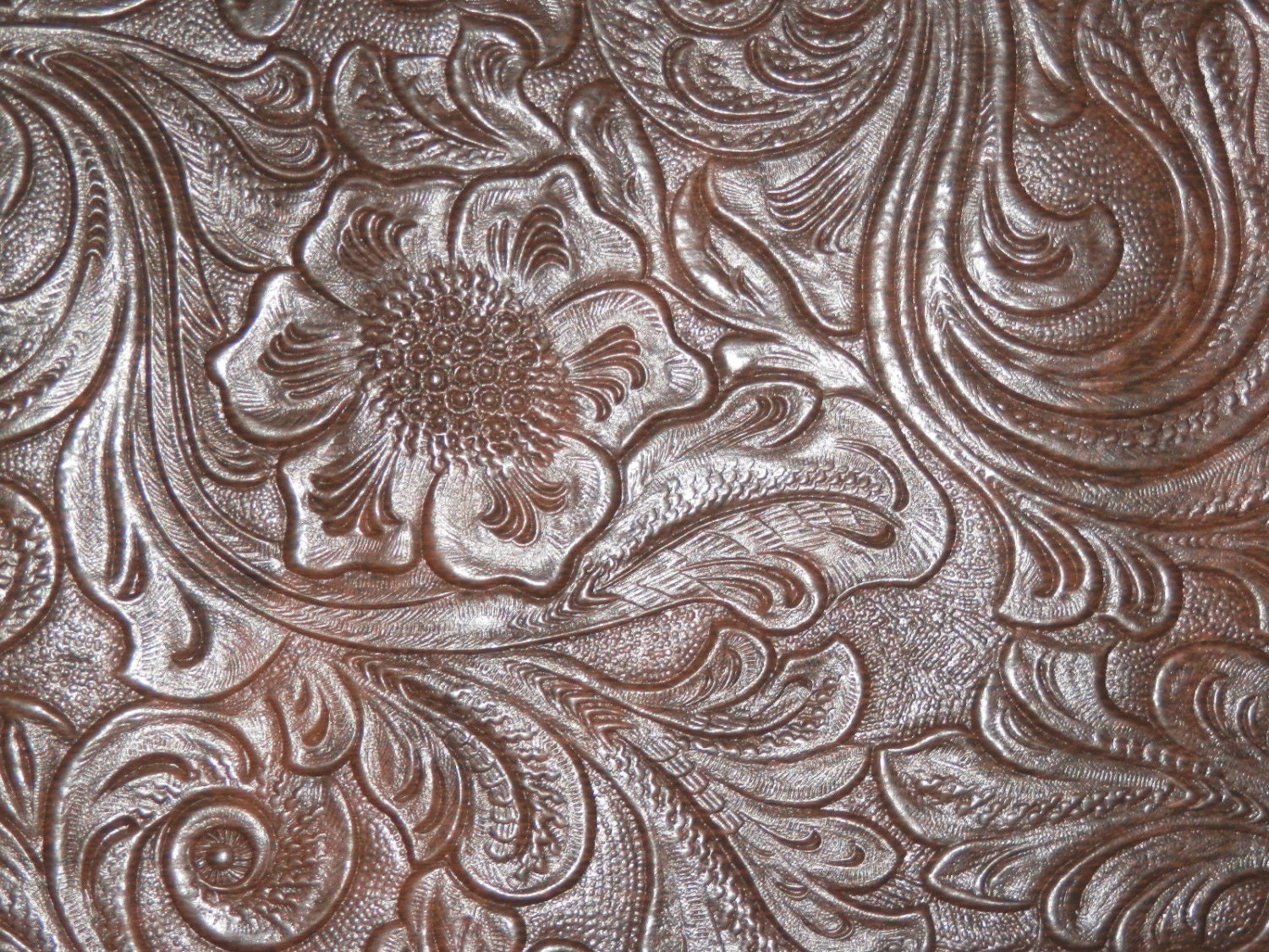 Tooled Leather Vinyl Fabric Laredo Color Turquoise Vinyl