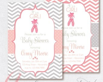 Baby Shower Invitation. Baby girl. Chevron style babyshower invitation. Ballerina babyshower. Printable