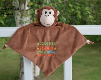 Personalized Security Blanket, Personalized Monkey Blankie, Monkey Security Blanket