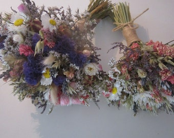 Deluxe Summer Meadow Bridal Bouquet.  Dried Wedding Flowers for Bride, includes Daisies, Pinks and Sea Lavender. Lace, Twine, Hessian