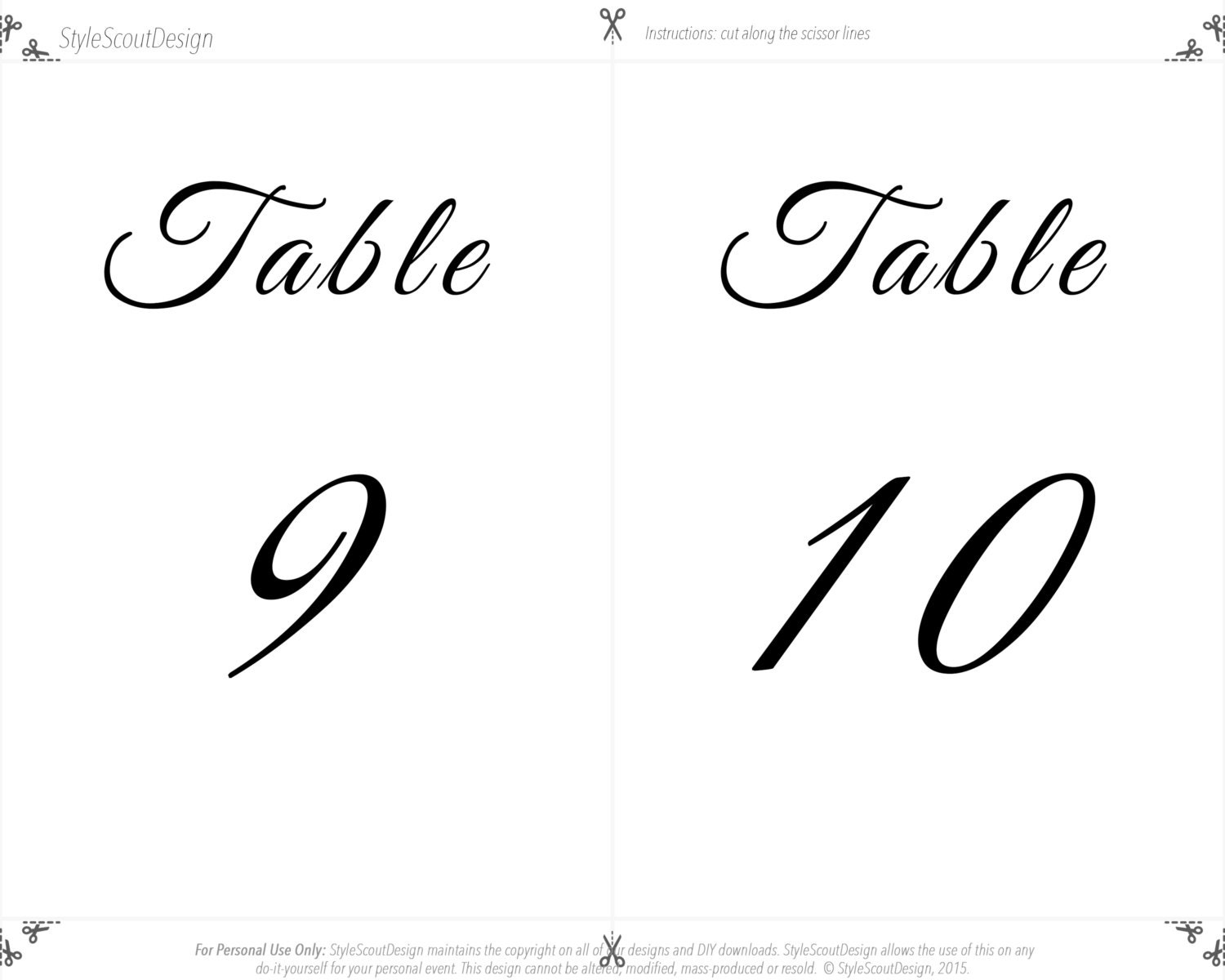 Curly Font Wedding Table Numbers Template Digital Download - Wedding table numbers template