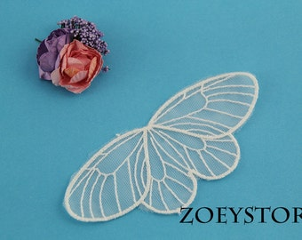 Butterfly Lace Applique in Off White For Craft, 5 pieces (JY015)