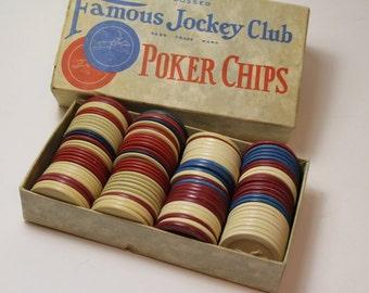 Vintage Poker Chips - Embossed,  Famous Jockey Club Poker Chips