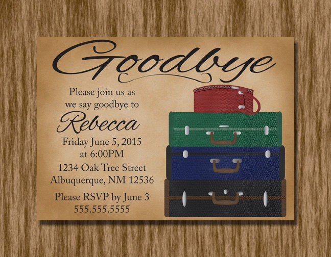 Unforgettable image throughout free printable going away party invitations