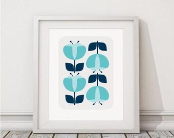 Blue flower giclée Poster art print