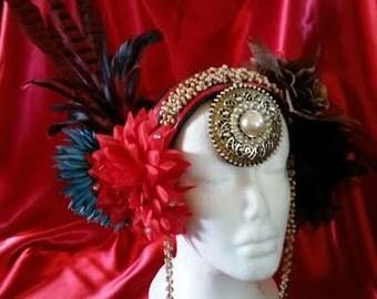 Feather & flower headdress, belly dance, head piece, costuming, renaissance