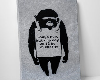 Laugh Now by Banksy Gallery Wrapped Canvas Print. BONUS! BANKSY DECAL!
