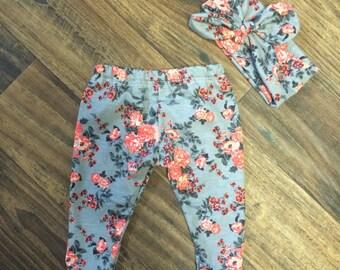 Girls grey and peach leggings (headband optional)