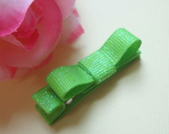 Sparkly Apple Green Ribbon Hair Clip, Baby, Toddler, Girl, Fully lined, Hair Clippie, Alligator Clip