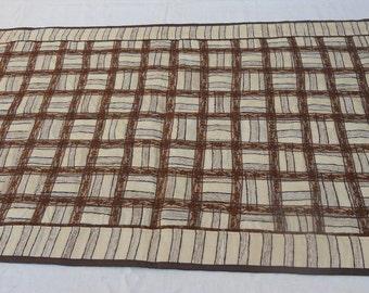 "Patchwork silk tablecloth, cream stripes silk tablecloth, 23,5"" x 39"" tablecloth, ready to ship"