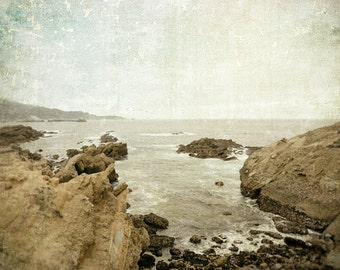 Landscape Photography, Ocean Photography, Pacific Coast, California, Monterey, Fine Art Print, Rustic Decor, Brown, Cream, Neutral Decor