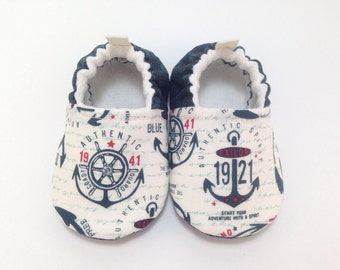 Anchors Baby Shoes, Baby Slippers, Soft Sole Baby Shoes, Baby Booties, Toddler slippers, nautical Baby Shoes, sailor baby, Coast Guard baby