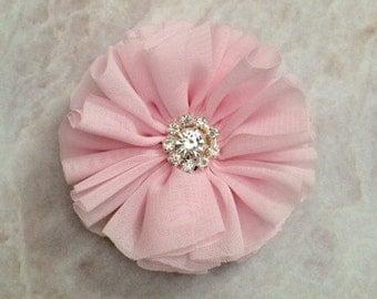 Light pink Ballerina flower, chiffon flower, rhinestone flower, fabric flower, headband flower, supply flower, ballerina flower, ballerina