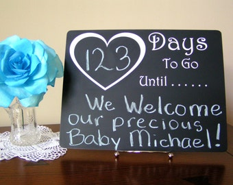 Countdown Calendar, Baby Shower Gift, Baby Countdown Chalkboard, Countdown To Baby Chalkboard, Mother To Be Countdown Board, Days to go,