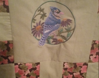 Embroidered Bird Lap Quilt