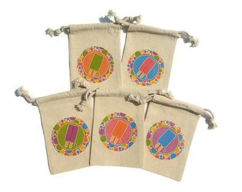 Popsicle Set of 10 Muslin 4x6 Favor Bags Birthday Party, Goody Bag, Custom-Mix&Match# Summer Pool Party Treat Back to School Bash Popsicles
