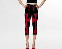 Red Cross    Capris/Yoga Pants/Woman/Teens/Yoga/Exercise/Wearable Art/Clothing/Ladies XS-S-M-L-XL