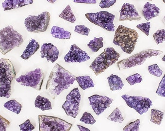 Amethyst Druzy Clusters Jewelry Making Gift Bag 15 piece - Brazilian A Quality